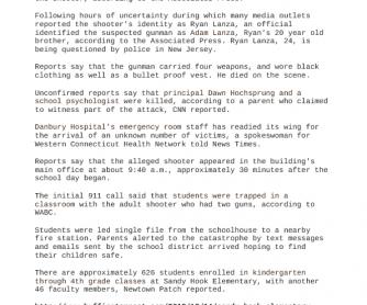 Reading Comprehension: Sandy Hook Elementary School Shooting.