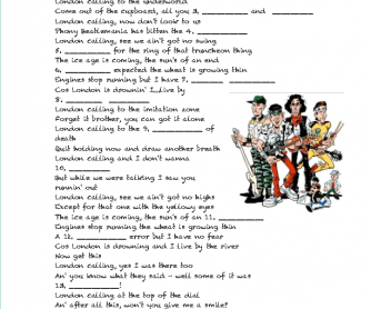 Song Worksheet: London Calling by The Clash