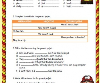 Present Perfect Tense Elementary Worksheet