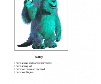 Monster's Inc. Descriptions and Worksheet
