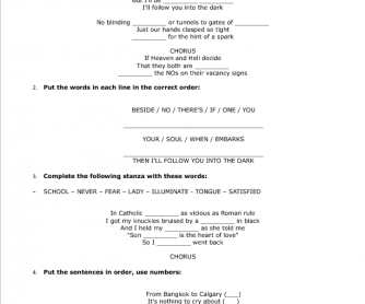 Song Worksheet: I Will Follow You Into The Dark by Death Cab For Cutie