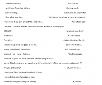 Mamma Mia Trailer Worksheet