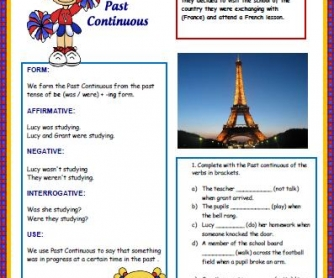 Past Continuous and Adverbs Worksheet