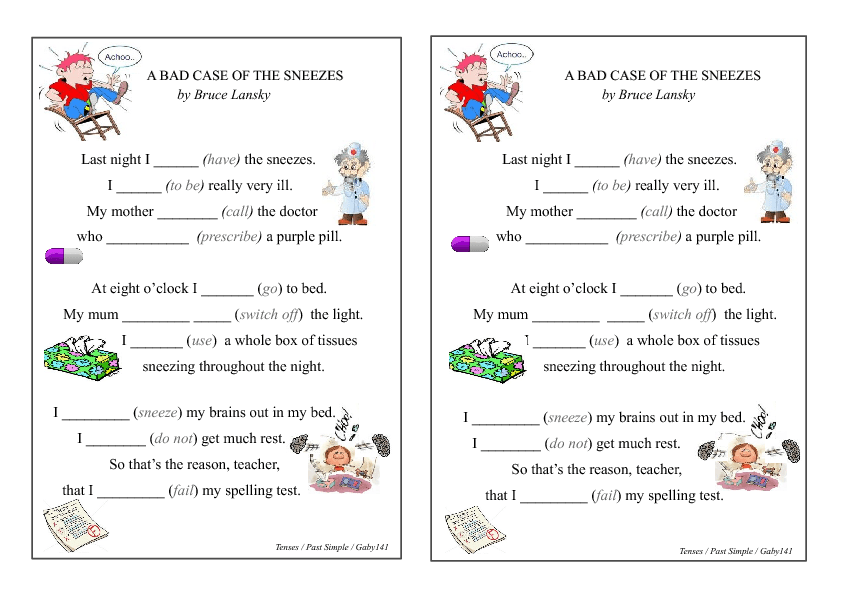 Funny Poem: Past Simple Gap Fill Worksheet