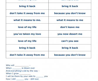 Song Worksheet: Love of My Life by Freddy Mercury