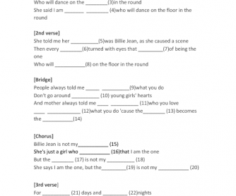 Billy Jean Gap Fill Song Activity