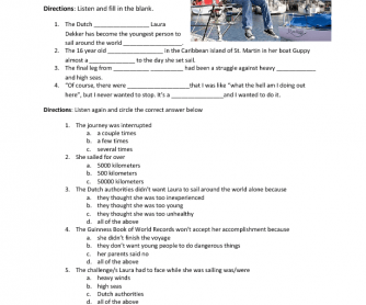 Young Teen Sails Around World Alone: Listening Worksheet