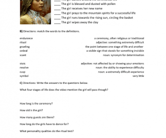 Video Worksheet: Apache Girl Coming of Age Ceremony