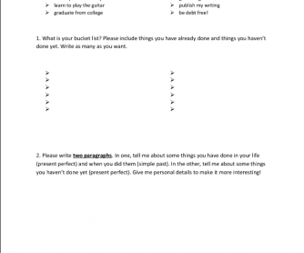 Speaking Activity and Writing: Bucket Lists using Present Perfect and Simple Past