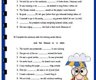 Linking Words Revision Worksheet