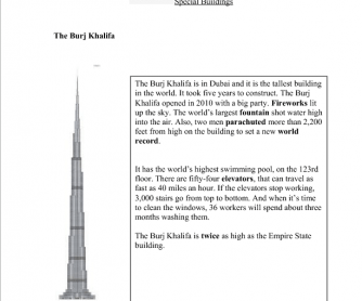 The World´s Tallest Building (Reading Comphrension)