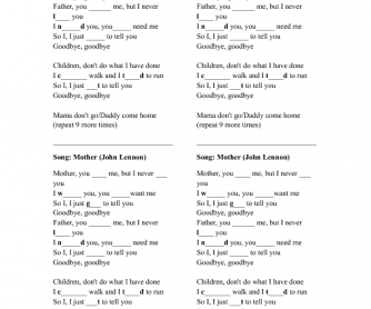 Song Worksheet: Mother by John Lennon