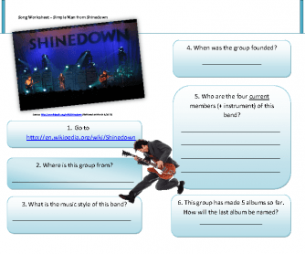 Song Worksheet: Simple Man by Shinedown