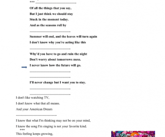 Song Worksheet: Fortune Teller by Maroon 5