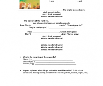 Song Worksheet: What a Wonderful World