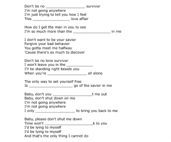 Song Worksheet: I Don't Want To Be Your Mother by Rachael Yamagata