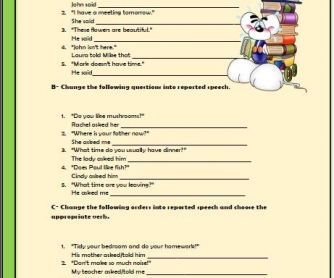 Reported Speech Elementary Worksheet