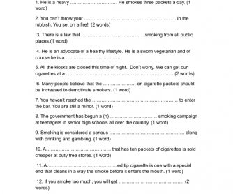 Smoking Vocabulary Worksheet