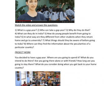 Video Worksheet: Gap Year Students