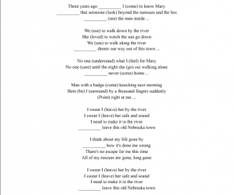 Song Worksheet: Hazard by Richard Marx [Using Past Simple, Connectors, Debate]