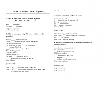 Song Worksheet: The Pretender by Foo Fighters