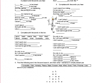 Song Worksheet: Lazy Bones (Green Day)
