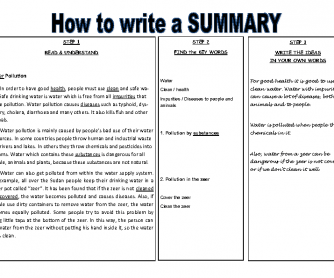 Writing a Summary in 3 Steps