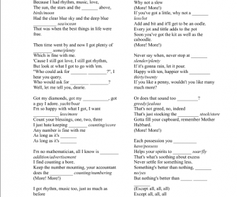 Song Worksheet: More by Madonna