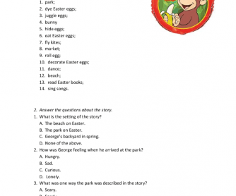 Movie Worksheet: Curious George. Happy Easter.