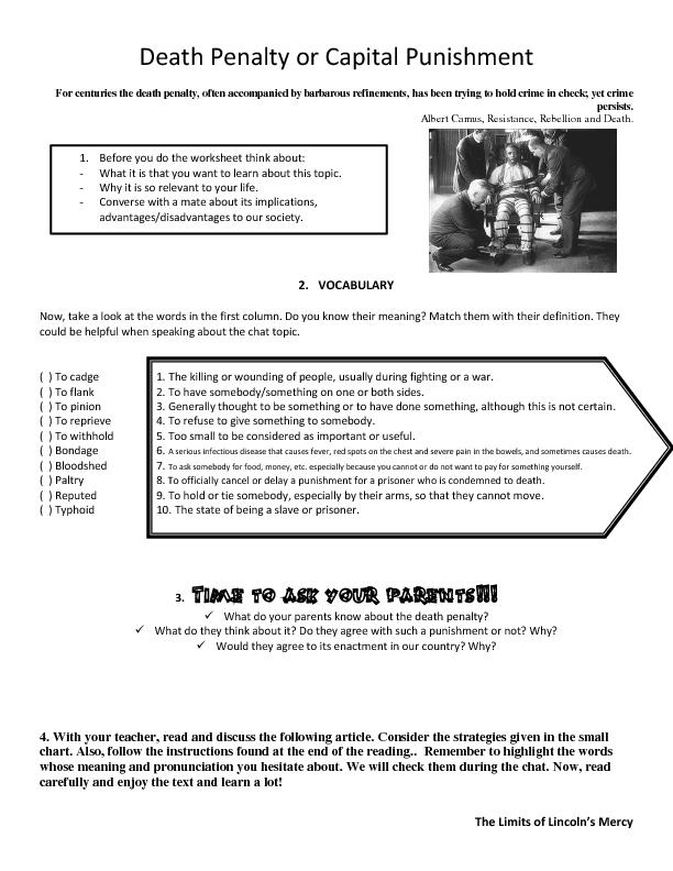 Penalty Worksheet – Black Death Worksheet