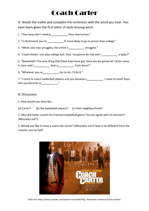 Movie Worksheet Coach Carter Video