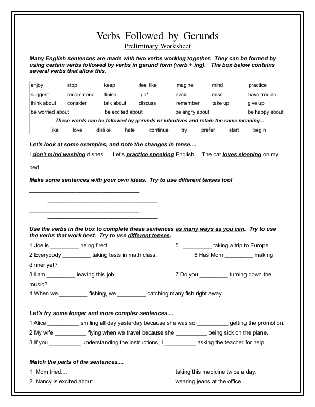 Followed by Gerunds – Gerund Worksheet