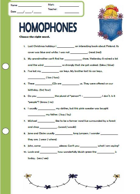 Homophones worksheet - Free ESL printable worksheets made by teachers