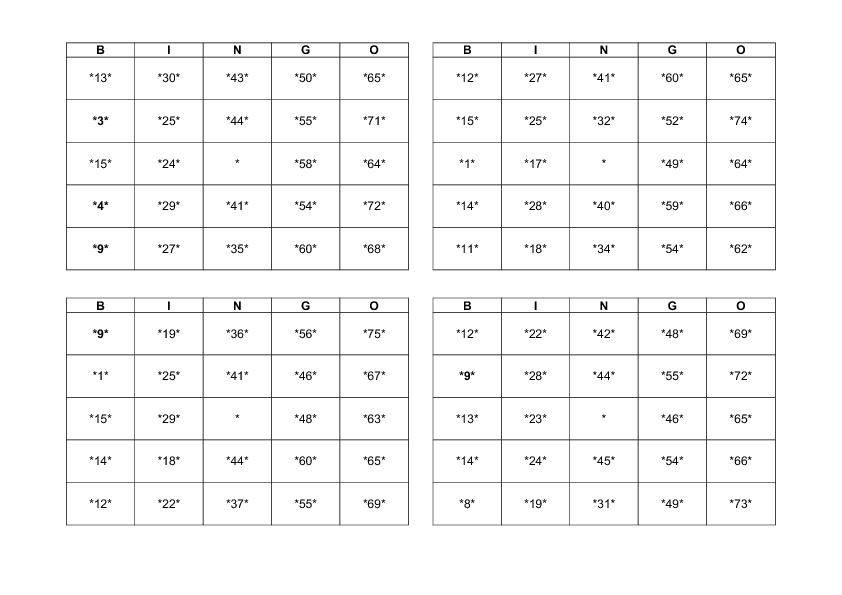 A Word Form of Bingo