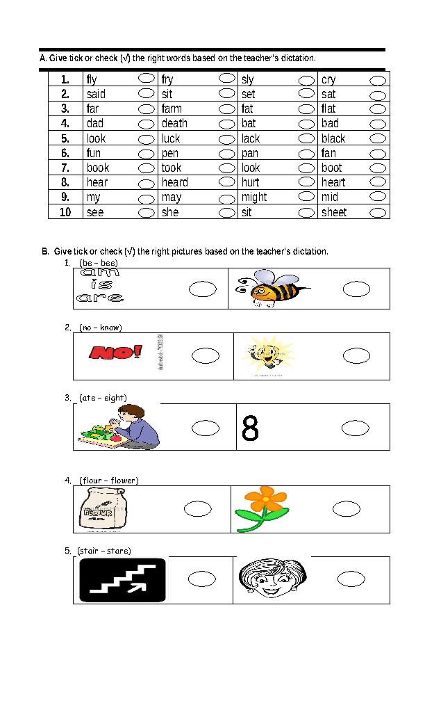 Dictation Test Worksheet