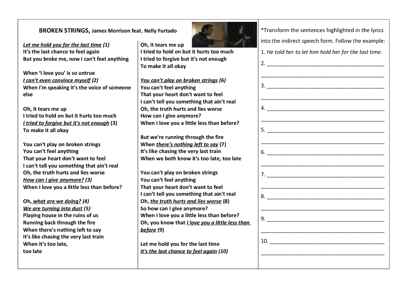 Song Worksheet: Broken Strings by James Morrison for Reported Speech