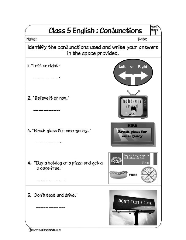 Printable Worksheets conjunctions worksheets for kids : a Conjunction