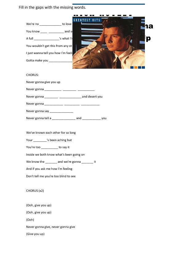 Song worksheet: Never Gonna Give You up by Rick Astley