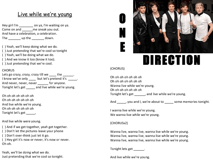 Song worksheet: Live While We're Young by One Direction