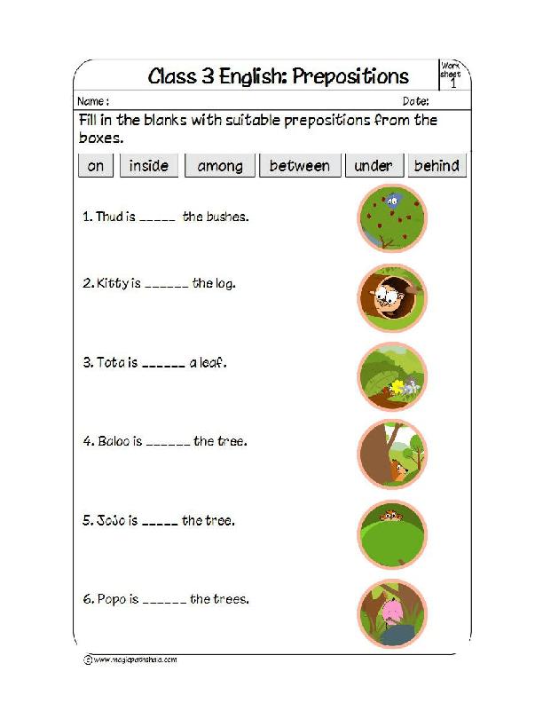 worksheet on prepositions. Black Bedroom Furniture Sets. Home Design Ideas