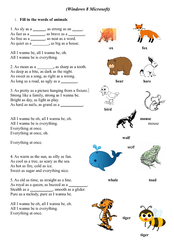 Song Worksheet: Windows 8 by Lenka