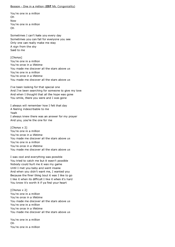Song Worksheet: One in a Million by Bosson