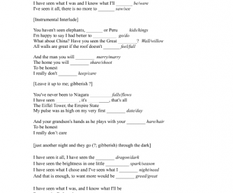 Song Worksheet: I've Seen It All by Bjork from movie Dancer in the Dark