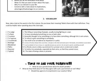 Death Penalty Worksheet