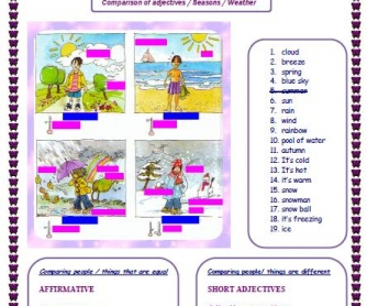 Degrees of Comparison, Seasons and Weather Worksheet