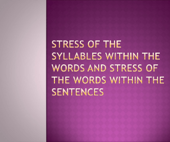 Word Stress in the Sentence