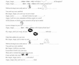 Song Worksheet: Angie by the Rolling Stones
