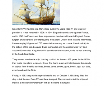 Reading Comprehension - The Mary Rose