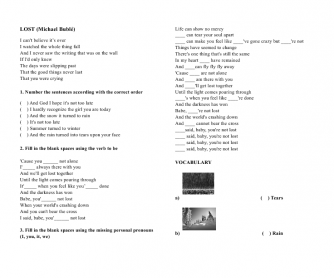 Song Worksheet: Lost by Michael Bublé
