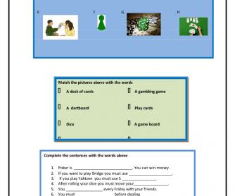 Games Vocabulary Worksheet